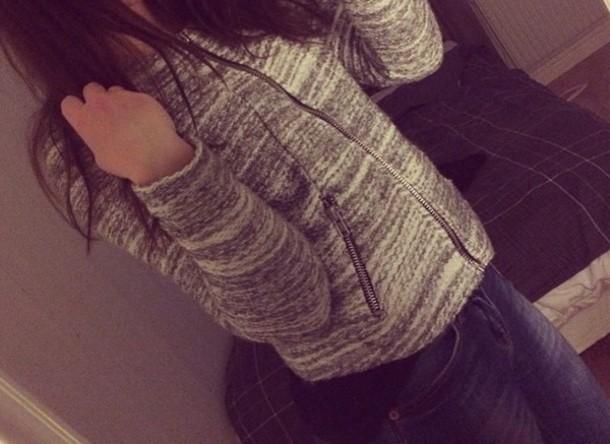 jacket sweater grey sweater