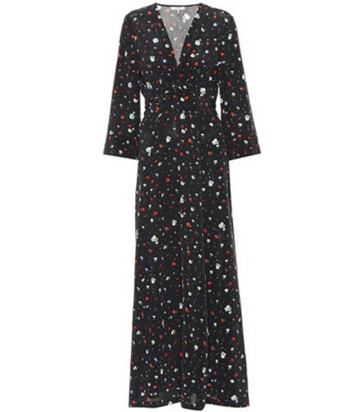 Ganni Nolana floral silk dress in black