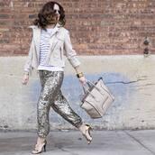 pants,silver pants,sequin pants,sequins,silver,metallic,top,striped top,stripes,jacket,white jacket,bag,nude bag,sandals,sandal heels,high heel sandals,gold sandals