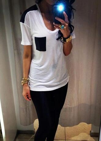 shirt t-shirt black pocket pockets relaxed white tee blouse