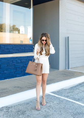 romper sunglasses white romper brown bag beige strappy sandals blogger