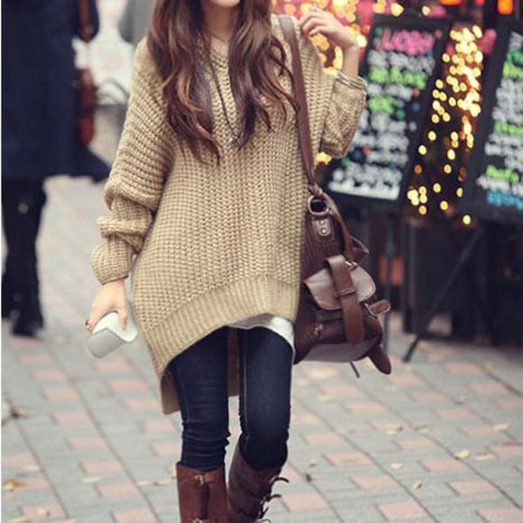 high-low loose sweater leisure