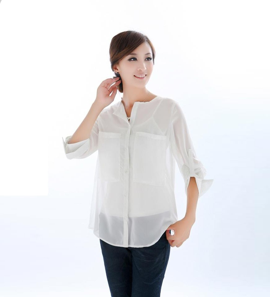976114884 Double Pockets White Chiffon Shirt @ Womens shirts & blouse:women  shirts,cheap button down shirts,long ...