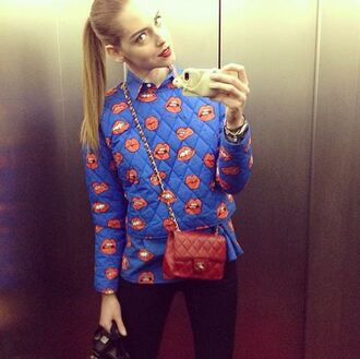 shirt sweater chiara blue mouth