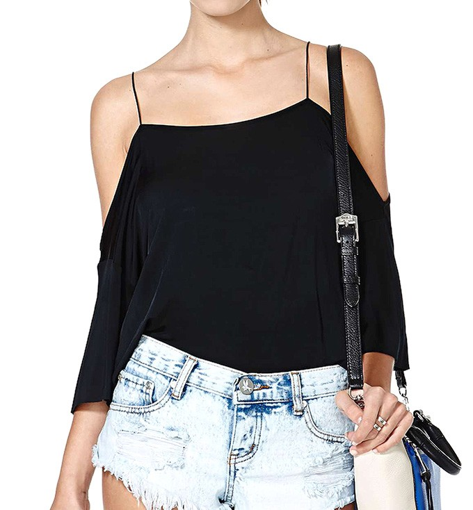 Cold Shoulder Narrow Strap Silky T-shirt Top