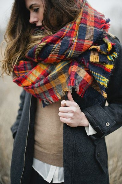 scarf tartan plaid fall outfits shawl winter outfits fashion bright tartan flannel scarf
