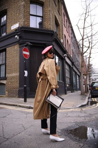 coat trench coat shoes white shoes beret red beret spring coat white bag bag brown trench coat black sunglasses black pants