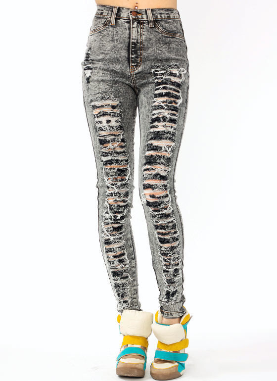 Black New Acid Mineral Wash High Waist Distressed Damage Denim Skinny Jeans Cute | eBay
