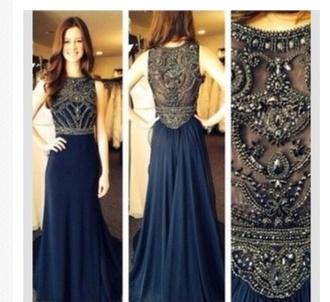 dress navy long prom dress