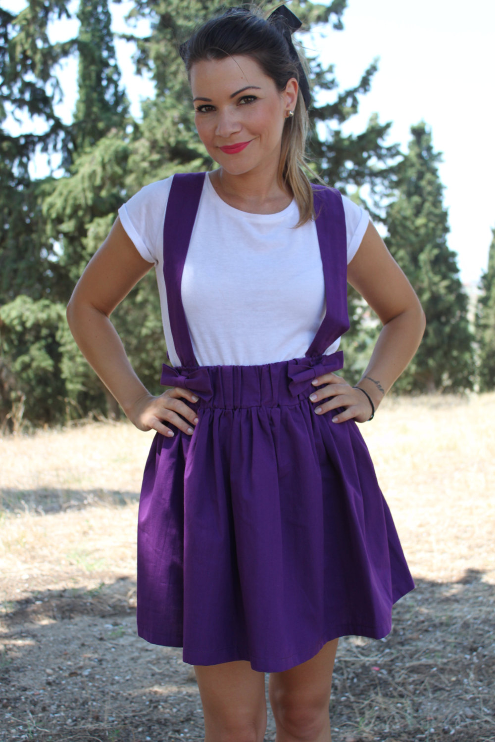 Full Mini Skirt with Suspenders and Bows Purple