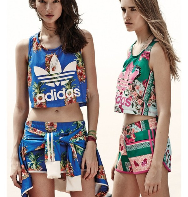 shirt adidas outfit shorts flowered shorts floral top set tank top