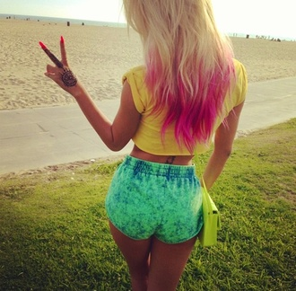 shorts blouse xxbaileighxx green yellow dip dyed pink blue shirt dip dye shorts acid wash acid washed shorts elastic waist