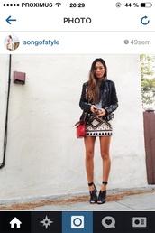 bag,heels,leather jacket,red,red bag,skirt,sequin skirt,black,jacket,clothes,fashion,pumps,shoes,tank top
