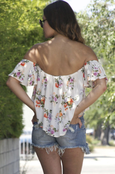 sleeveless top floral top off the shoulder off shoulder top lovely girl girly hipster denim