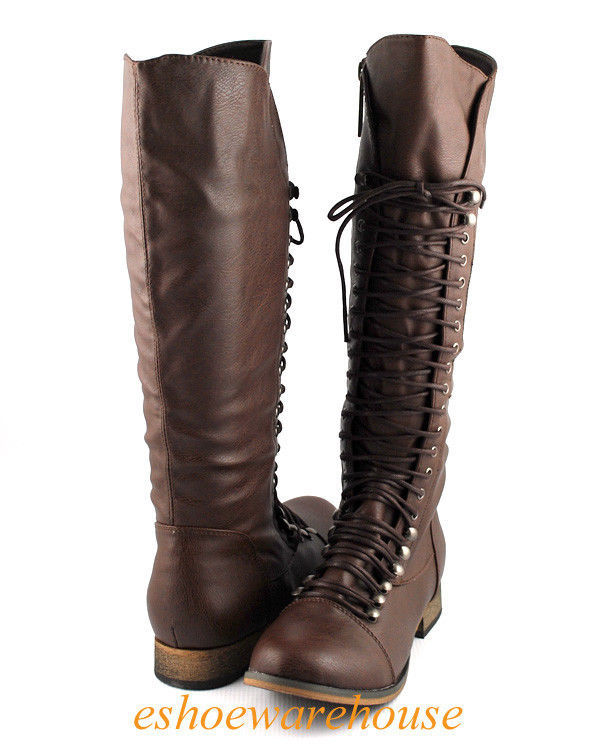 Brown Cool Comfy Urban Lace Up Flat Knee High Boots Combat Biker ...