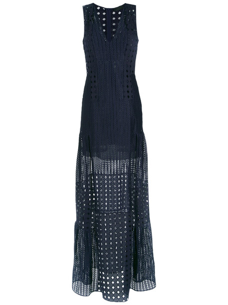 Giuliana Romanno dress maxi dress maxi women lace cotton blue