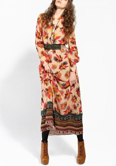 multicolor blouse dress cichic flower print boheme maxi dress long dress wantsomethingsimilar belted dress vintage