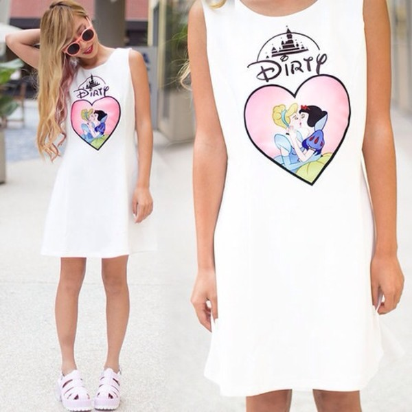 dress disney dirty princess cinderella snow white white heart shoes pink baby pink blue