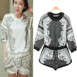 Aliexpress.com : Buy Women Decorative Pattern Printed O neck Blouse Three Quarter Length Sleeve Top Elastic Casual Shorts Suit Free ShippingA140 from Reliable short women suppliers on Stylish Harajuku