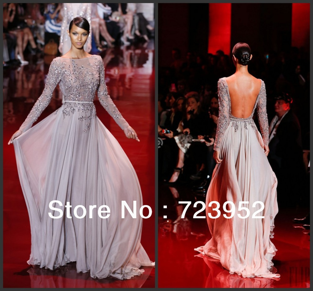 Aliexpress.com : buy 2013 fall new elie saab beadings chiffon backless long sleeve evening dress from reliable bead tote suppliers on suzhou aee wedding dress co. , ltd