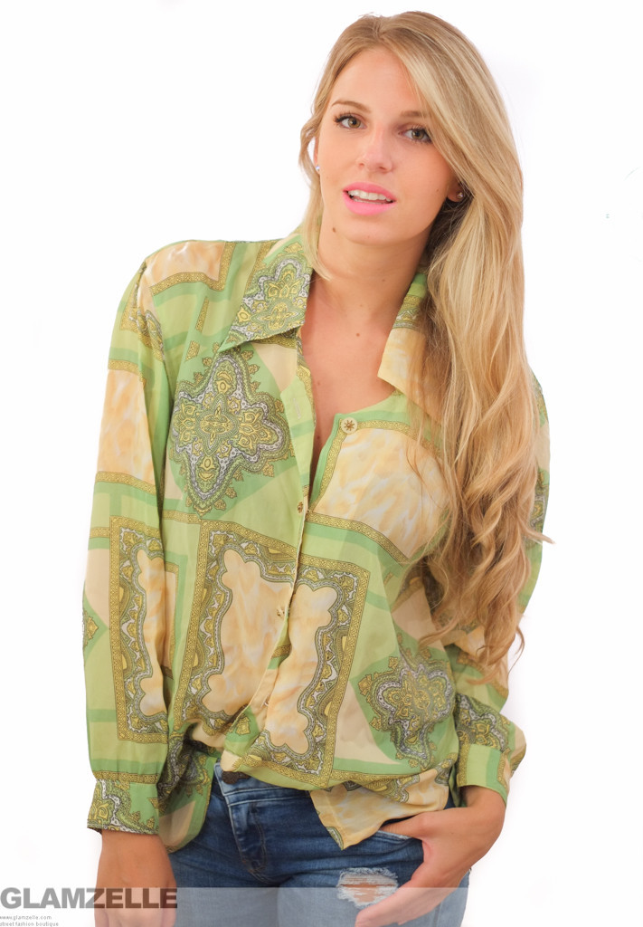 Exclusive green gold baroque print blouse – glamzelle