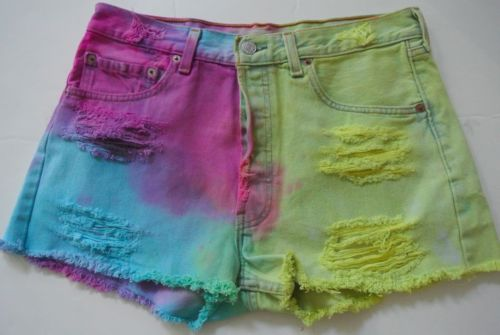 Vtg Levis 501 Cutoff Shorts 32 Tie Dye Ombre Button Fly High Waist Frayed USA | eBay