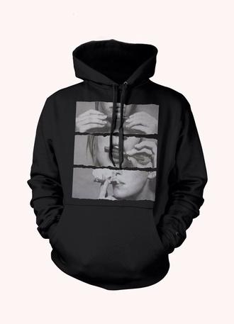 jacket hoodie blunt black cute hoodie weed smoking lips smoke bomb t-shirt oversized t-shirt girl print