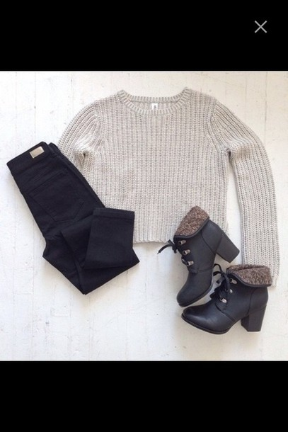 sweater heels warm jeans black high waisted jeans cropped sweater cropped baige knitwear cute shoes
