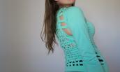 top,studioklak,strappy back,woven back,aquamarine,teal,turquoise,neon mint,open back