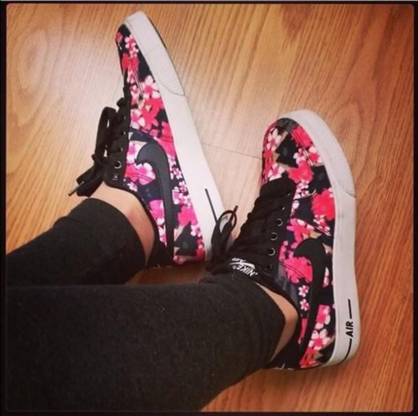 shoes flowers nike nike air high top sneakers jeans