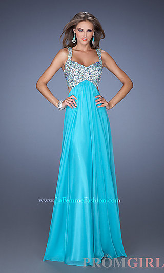 Sleeveless Beaded Gown, La Femme Floor Length Prom Dress-PromGirl