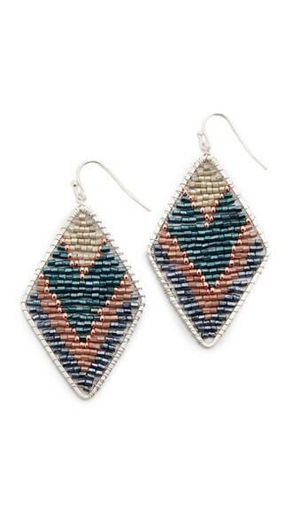 earrings silver teal jewels