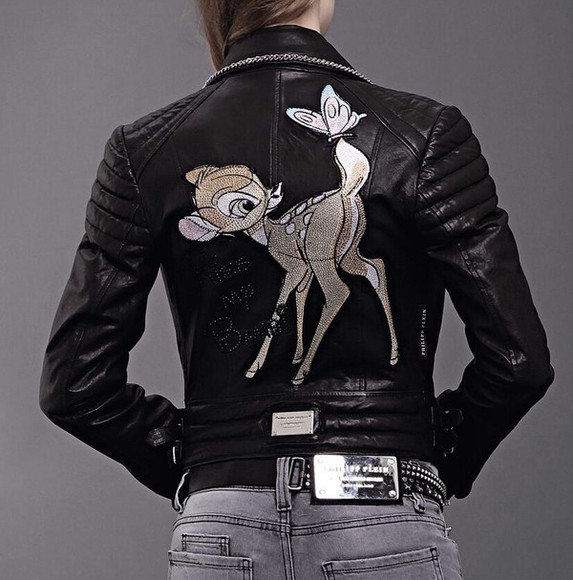 leather jacket jacket black leather jacket black jacket bambi philip plein