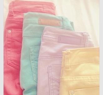 jeans pink blue purple yellow pastel tumblr