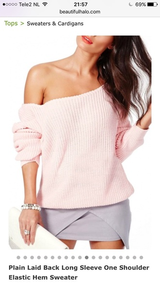 sweater pink cute knitwear girly light pink fashion style trendy off the shoulder beautifulhalo