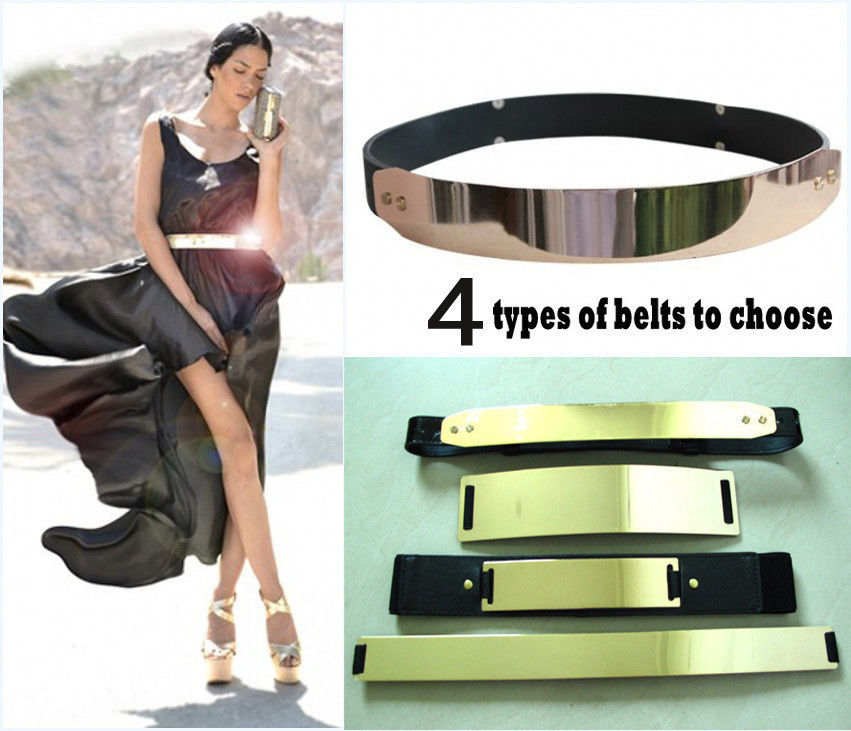 Elastic mirror metal waist belt metallic bling metal gold plate wide obi band