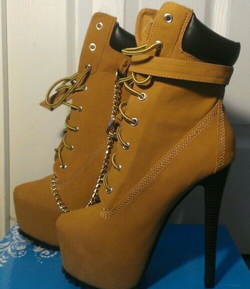 khaki timberland style lace up high heel stiletto boots