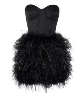 dress little black dress feathers fashion