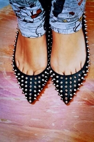 shoes flats black flats pointed toe almond flats black studded flats studded flats edgy classy fla