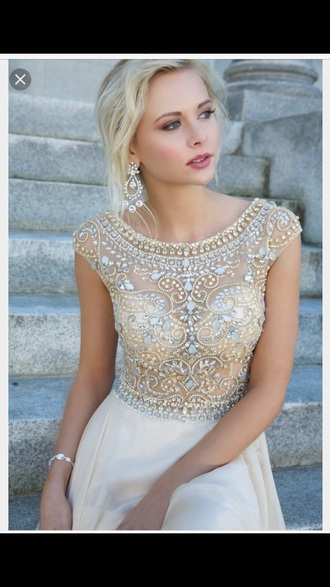 dress white prom dress off-white gown wedding dress homecoming dress beads beaded sequins beads wedding dresses