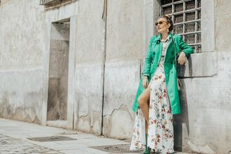 mi aventura con la moda blogger dress coat shoes bag jewels floral dress maxi dress green coat ankle boots spring outfits