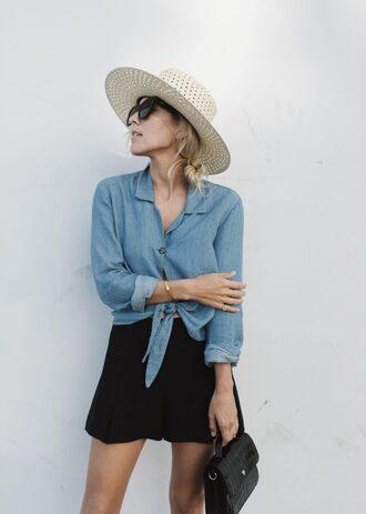 hat tumblr sun hat denim denim shirt shorts shirt blue shirt black shorts bag black bag