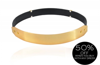 24d625a5d66 Accessories :: Belts & Scarves :: 'Signature' Gold Metal Black Leather  Waist Belt - Celeb Boutique - Celebrity ...