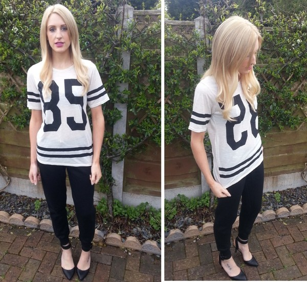 t-shirt varsity tee varsity number tee joggers sweatpants Pop Couture fashion blogger pants