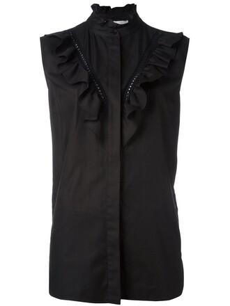 shirt sleeveless shirt sleeveless ruffle women cotton black top