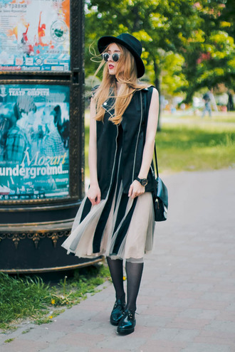 anna pogribnyak city fashion: my vision blogger shoes dress tights hat sunglasses jacket bag jewels
