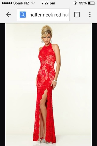 dress red lace split neck ball prom open back long maxi