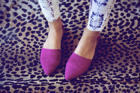 shoes flats jenni kayne purple magenta