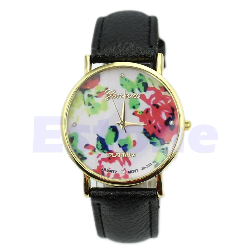 Women Fashion Candy Color Geneva Rose Floral Quartz Analog Simple Style Wrist Band Watch-in Wristwatches from Watches on Aliexpress.com | Alibaba Group