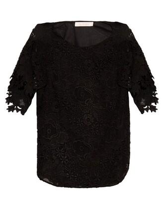 top lace top lace floral black